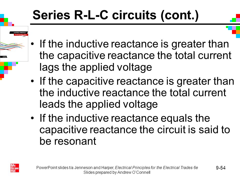 PowerPoint slides t/a Jenneson and Harper, Electrical Principles for the Electrical Trades 6e Slides prepared by Andrew OConnell 9-54 If the inductive