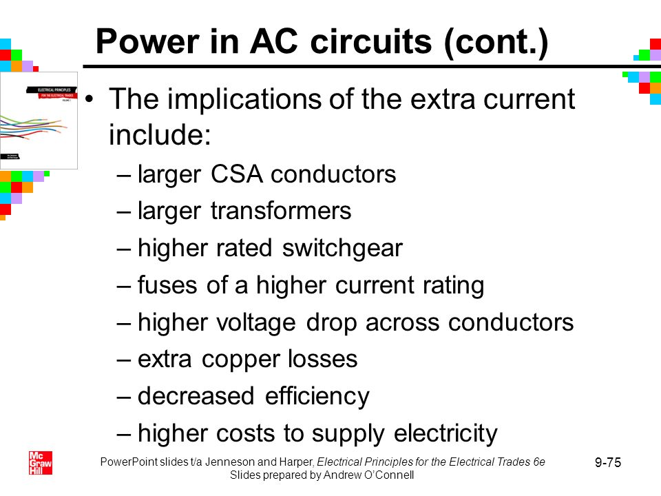 PowerPoint slides t/a Jenneson and Harper, Electrical Principles for the Electrical Trades 6e Slides prepared by Andrew OConnell 9-75 The implications