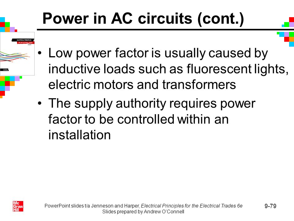 PowerPoint slides t/a Jenneson and Harper, Electrical Principles for the Electrical Trades 6e Slides prepared by Andrew OConnell 9-79 Low power factor