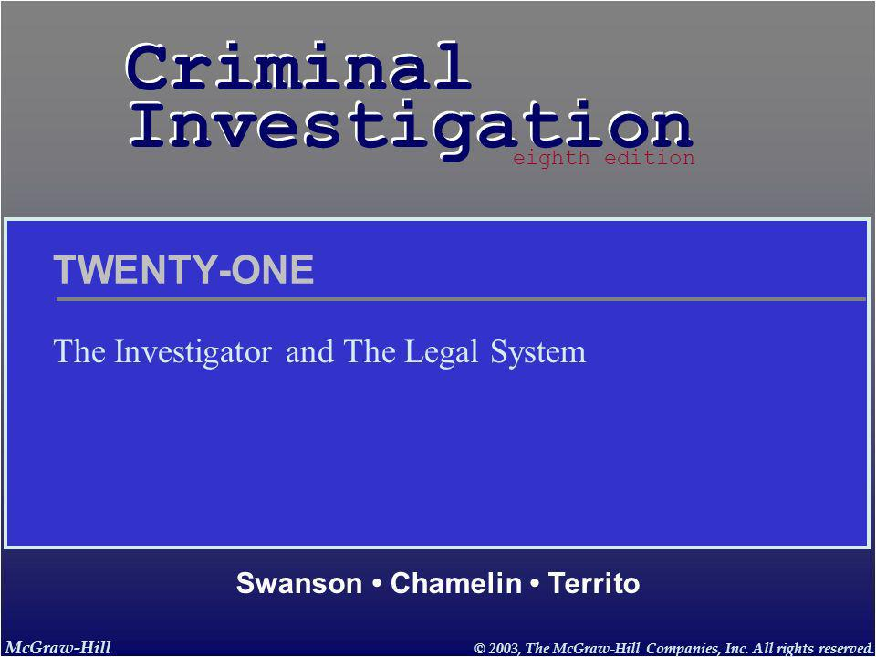 McGraw-Hill © 2003, The McGraw-Hill Companies, Inc. All rights reserved. Criminal Investigation Criminal Investigation Swanson Chamelin Territo eighth