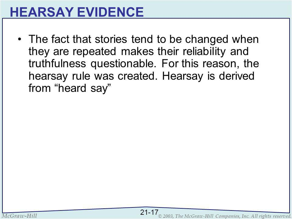 McGraw-Hill © 2003, The McGraw-Hill Companies, Inc. All rights reserved. HEARSAY EVIDENCE The fact that stories tend to be changed when they are repea