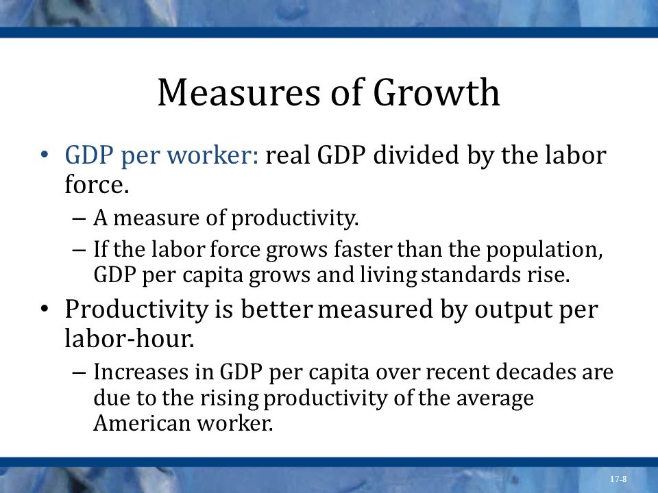 17-9 Sources of Growth Long-run growth of the labor force has stabilized, so continued growth in real GDP must rely on productivity growth.
