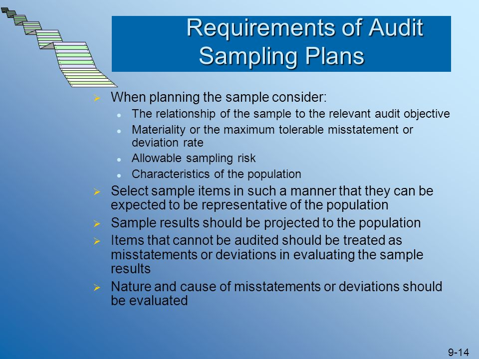 9-14 Requirements of Audit Sampling Plans Requirements of Audit Sampling Plans When planning the sample consider: The relationship of the sample to th