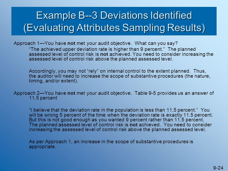 9-24 Example B--3 Deviations Identified (Evaluating Attributes Sampling Results) Approach 1You have not met your audit objective. What can you say? Th