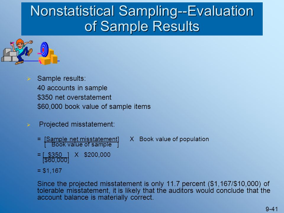 9-41 Nonstatistical Sampling--Evaluation of Sample Results Sample results: 40 accounts in sample $350 net overstatement $60,000 book value of sample i