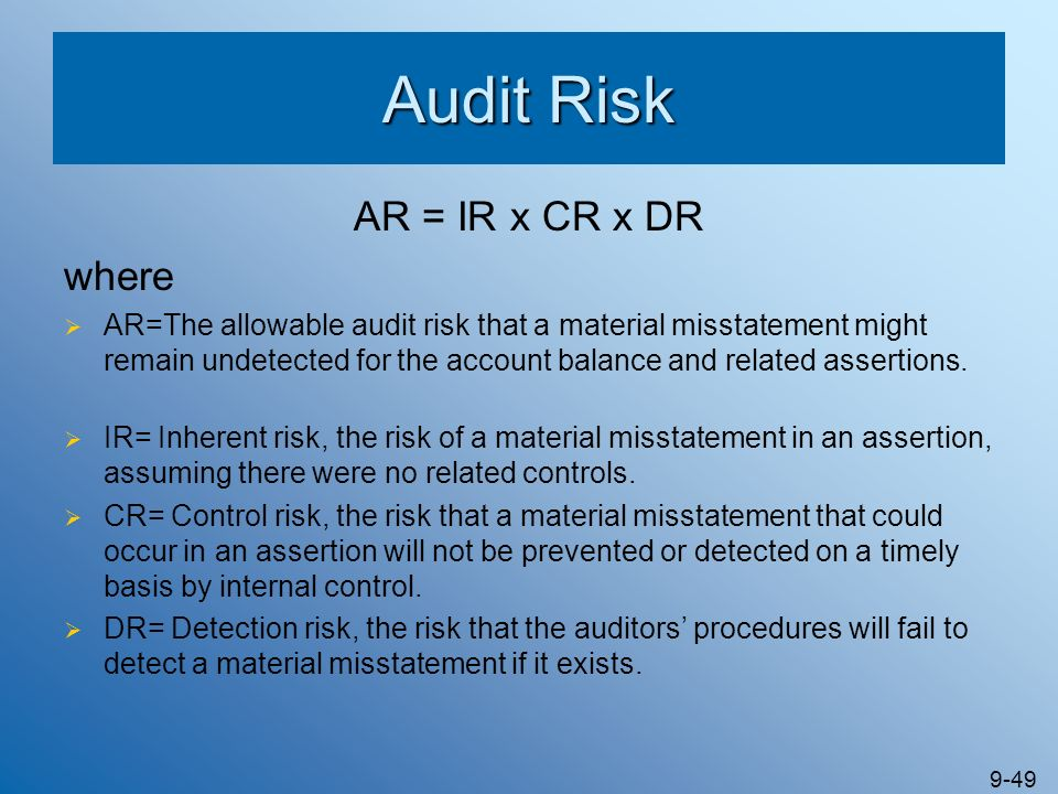 9-49 Audit Risk AR = IR x CR x DR where AR=The allowable audit risk that a material misstatement might remain undetected for the account balance and r