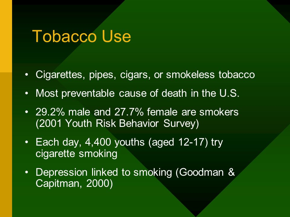 Tobacco Use Cigarettes, pipes, cigars, or smokeless tobacco Most preventable cause of death in the U.S. 29.2% male and 27.7% female are smokers (2001