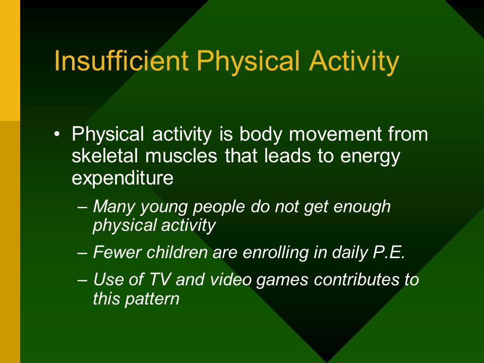 Insufficient Physical Activity Physical activity is body movement from skeletal muscles that leads to energy expenditure –Many young people do not get