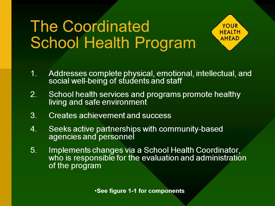 The Coordinated School Health Program 1.Addresses complete physical, emotional, intellectual, and social well-being of students and staff 2.School hea