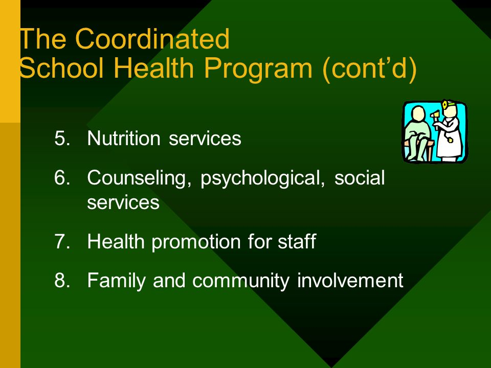 The Coordinated School Health Program (contd) 5.Nutrition services 6.Counseling, psychological, social services 7.Health promotion for staff 8.Family
