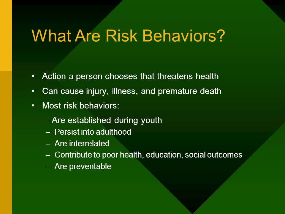 6 Categories of Risk Behavior for Todays Students Behaviors contributing to unintentional/ intentional injuries Tobacco use Alcohol and other drug use Identified by the Centers for Disease Control & Prevention