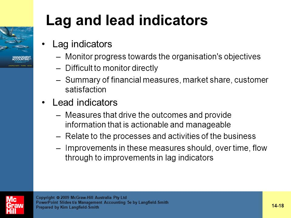 Lag and lead indicators Lag indicators –Monitor progress towards the organisation's objectives –Difficult to monitor directly –Summary of financial me