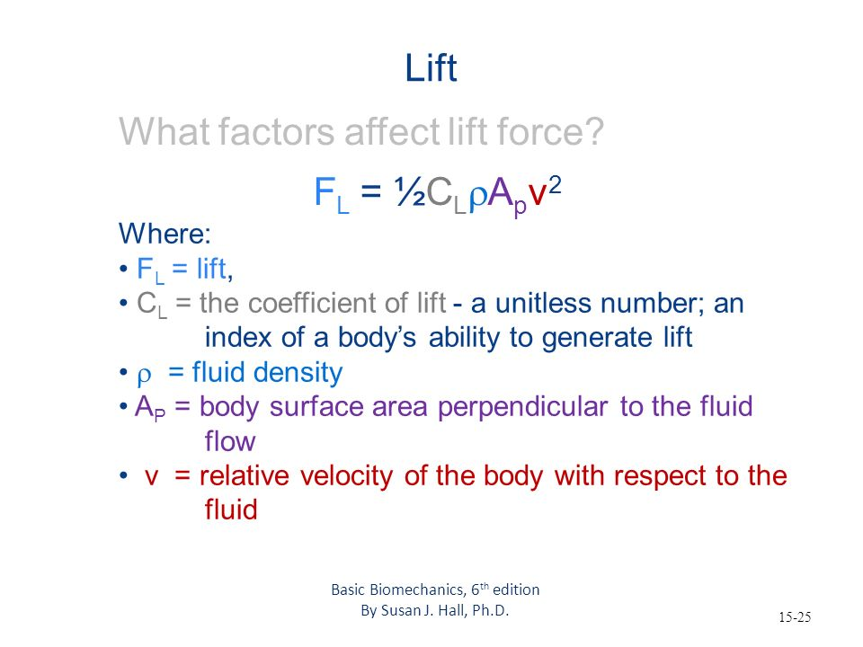 15-25 Lift What factors affect lift force? Where: F L = lift, C L = the coefficient of lift - a unitless number; an index of a bodys ability to genera