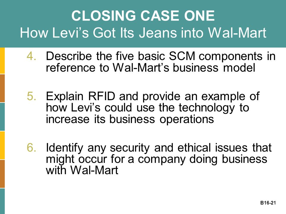 B16-21 CLOSING CASE ONE How Levis Got Its Jeans into Wal-Mart 4.Describe the five basic SCM components in reference to Wal-Marts business model 5.Expl