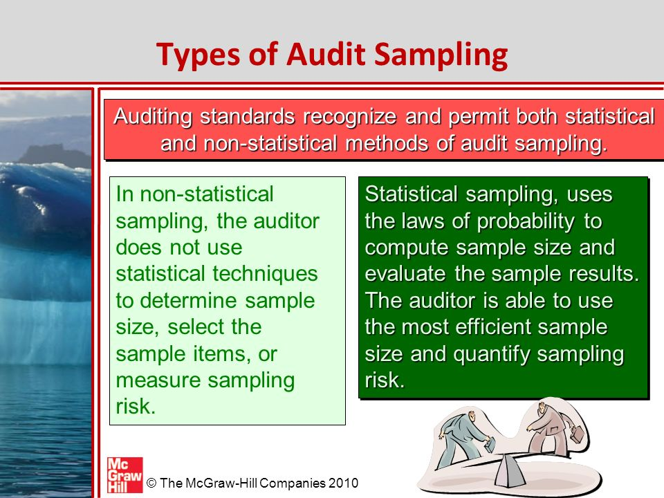 McGraw-Hill/Irwin © The McGraw-Hill Companies 2010 Types of Audit Sampling Auditing standards recognize and permit both statistical and non-statistical methods of audit sampling.