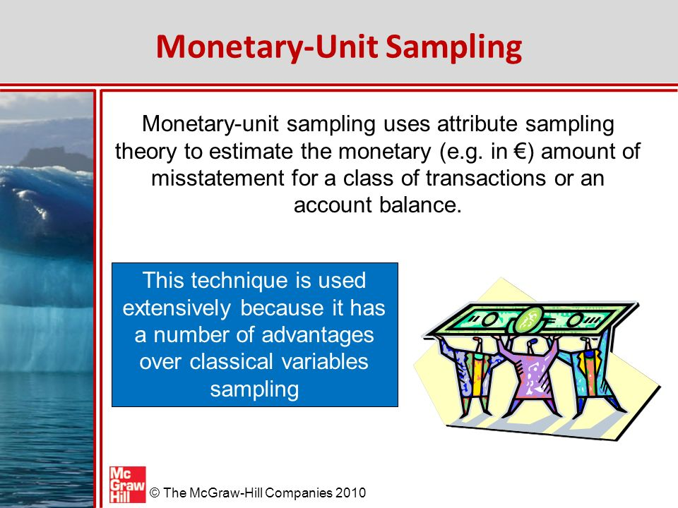 McGraw-Hill/Irwin © The McGraw-Hill Companies 2010 Monetary-Unit Sampling Monetary-unit sampling uses attribute sampling theory to estimate the monetary (e.g.