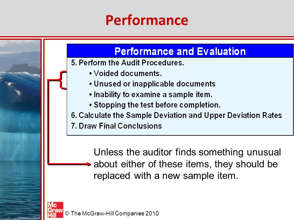 McGraw-Hill/Irwin © The McGraw-Hill Companies 2010 Performance Unless the auditor finds something unusual about either of these items, they should be replaced with a new sample item.