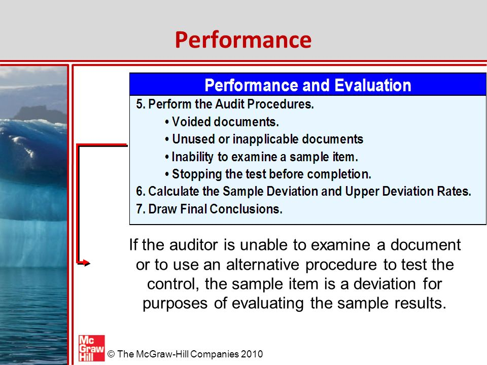 McGraw-Hill/Irwin © The McGraw-Hill Companies 2010 Performance If the auditor is unable to examine a document or to use an alternative procedure to test the control, the sample item is a deviation for purposes of evaluating the sample results.