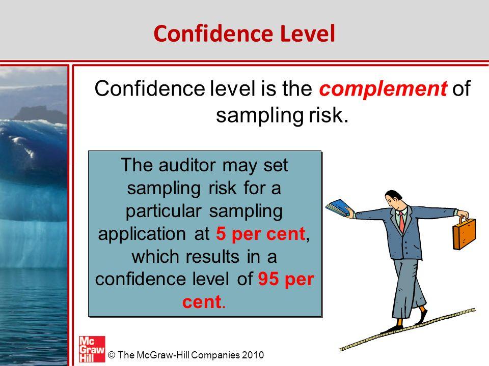 McGraw-Hill/Irwin © The McGraw-Hill Companies 2010 Confidence Level Confidence level is the complement of sampling risk.