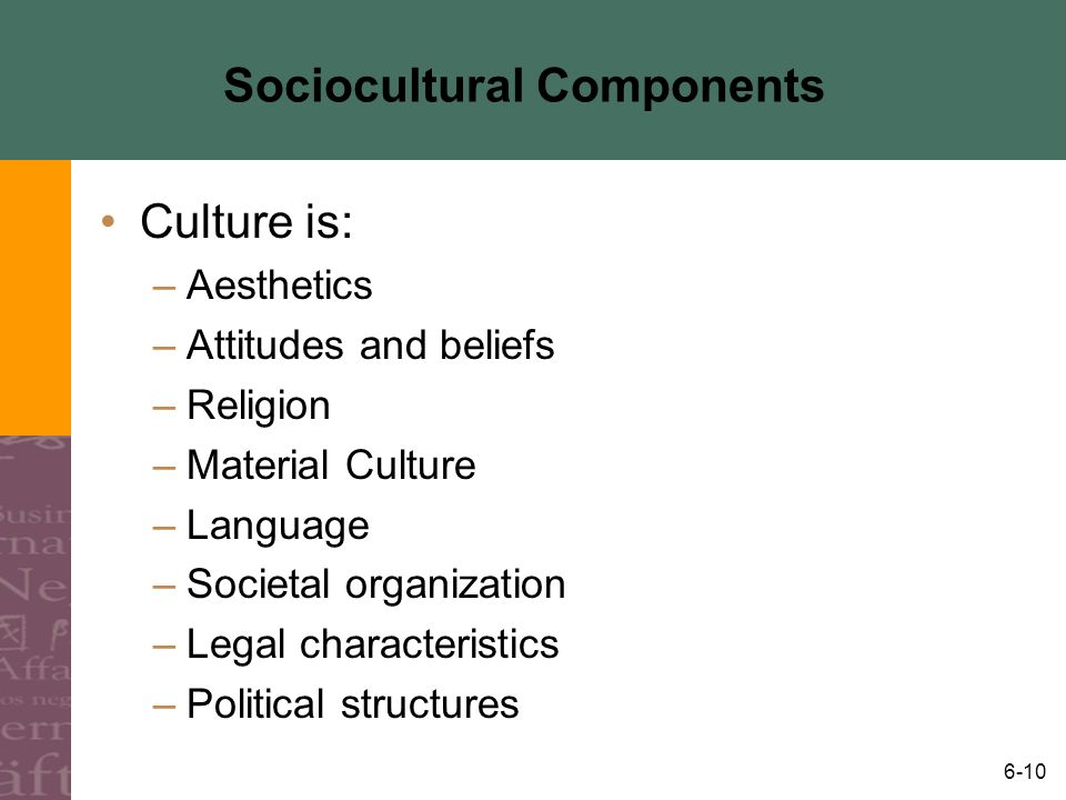 6-10 Sociocultural Components Culture is: –Aesthetics –Attitudes and beliefs –Religion –Material Culture –Language –Societal organization –Legal chara