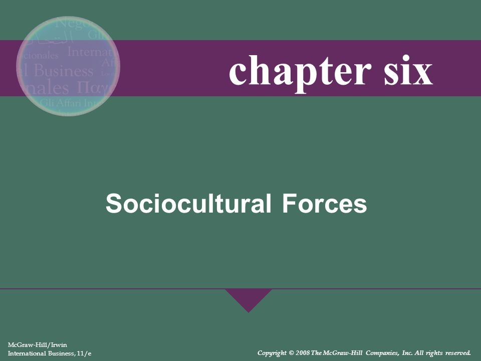 Sociocultural Forces McGraw-Hill/Irwin International Business, 11/e Copyright © 2008 The McGraw-Hill Companies, Inc. All rights reserved. chapter six