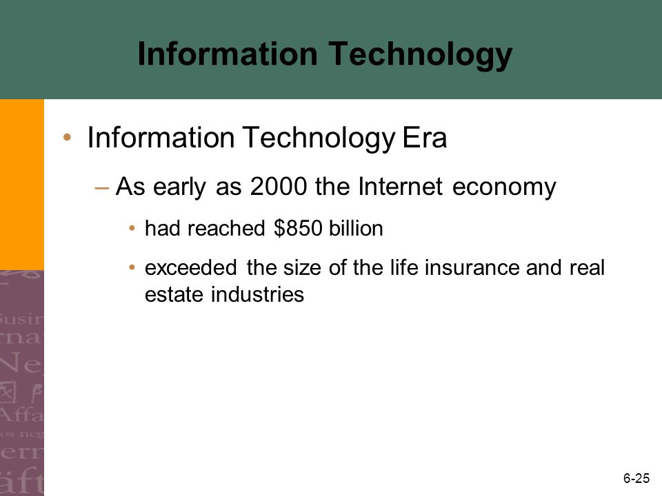 6-25 Information Technology Information Technology Era –As early as 2000 the Internet economy had reached $850 billion exceeded the size of the life i