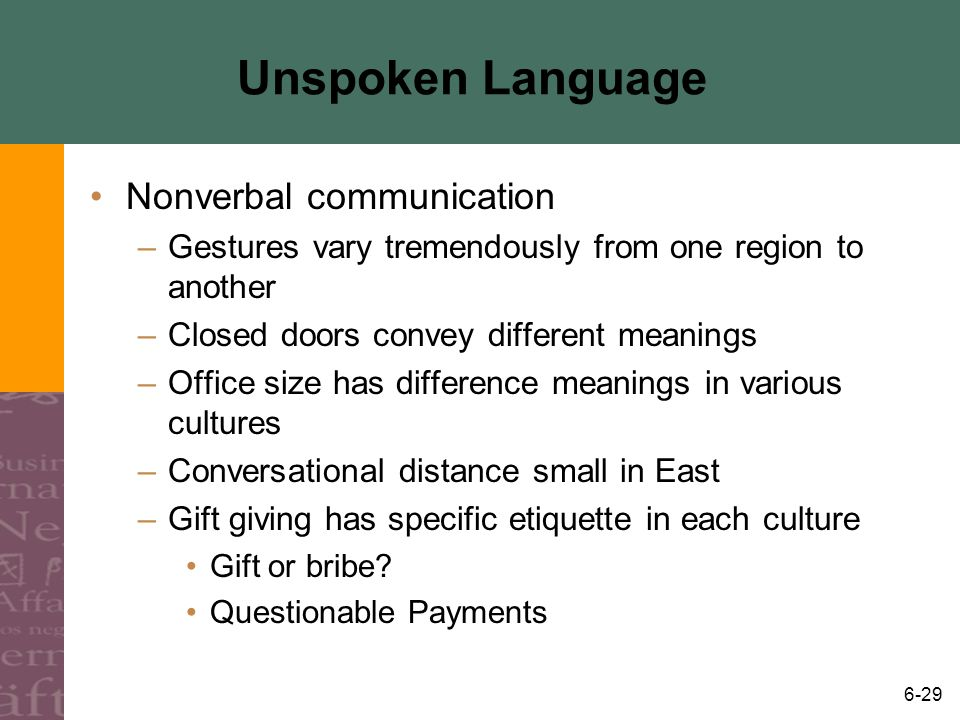 6-29 Unspoken Language Nonverbal communication –Gestures vary tremendously from one region to another –Closed doors convey different meanings –Office