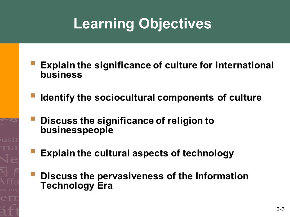 6-3 Learning Objectives Explain the significance of culture for international business Identify the sociocultural components of culture Discuss the si