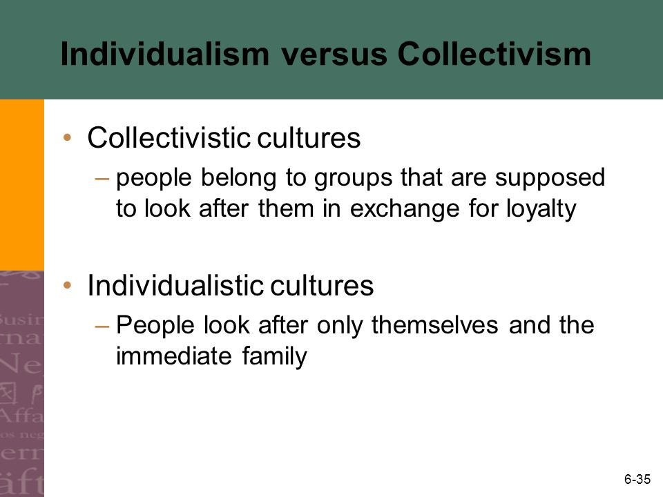 6-35 Individualism versus Collectivism Collectivistic cultures –people belong to groups that are supposed to look after them in exchange for loyalty I