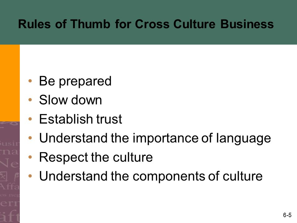 6-6 What is Culture The sum total of beliefs, rules, techniques, institutions, and artifacts that characterize human populations –Learned –Interrelated –Shared –Defines the boundaries