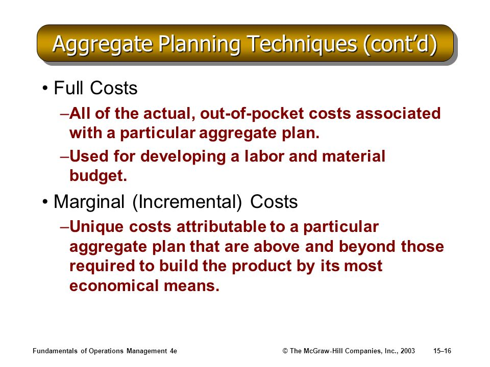 Fundamentals of Operations Management 4e© The McGraw-Hill Companies, Inc., 200315–16 Aggregate Planning Techniques (contd) Full Costs –All of the actu