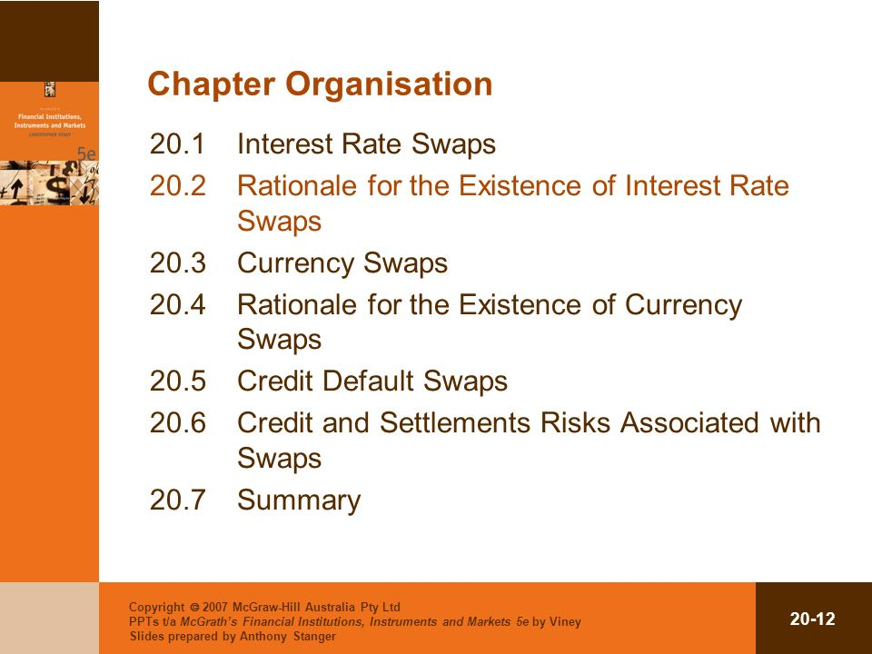 Copyright 2007 McGraw-Hill Australia Pty Ltd PPTs t/a McGraths Financial Institutions, Instruments and Markets 5e by Viney Slides prepared by Anthony Stanger 20-12 Chapter Organisation 20.1Interest Rate Swaps 20.2Rationale for the Existence of Interest Rate Swaps 20.3Currency Swaps 20.4Rationale for the Existence of Currency Swaps 20.5Credit Default Swaps 20.6Credit and Settlements Risks Associated with Swaps 20.7Summary
