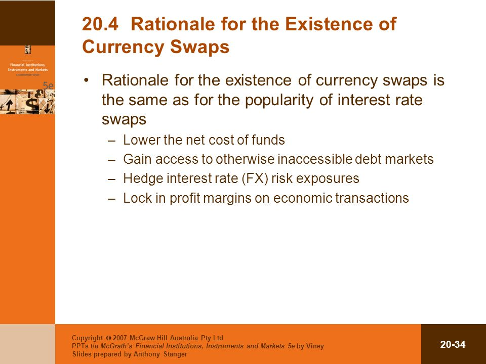 Copyright 2007 McGraw-Hill Australia Pty Ltd PPTs t/a McGraths Financial Institutions, Instruments and Markets 5e by Viney Slides prepared by Anthony Stanger 20-34 20.4Rationale for the Existence of Currency Swaps Rationale for the existence of currency swaps is the same as for the popularity of interest rate swaps –Lower the net cost of funds –Gain access to otherwise inaccessible debt markets –Hedge interest rate (FX) risk exposures –Lock in profit margins on economic transactions