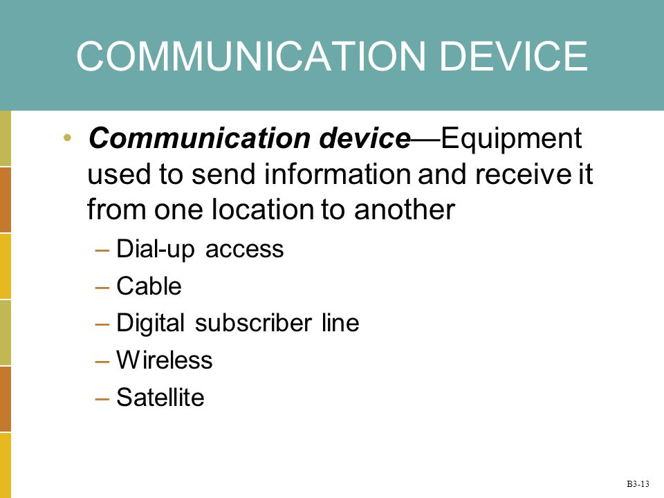 B3-13 COMMUNICATION DEVICE Communication deviceEquipment used to send information and receive it from one location to another –Dial-up access –Cable –Digital subscriber line –Wireless –Satellite