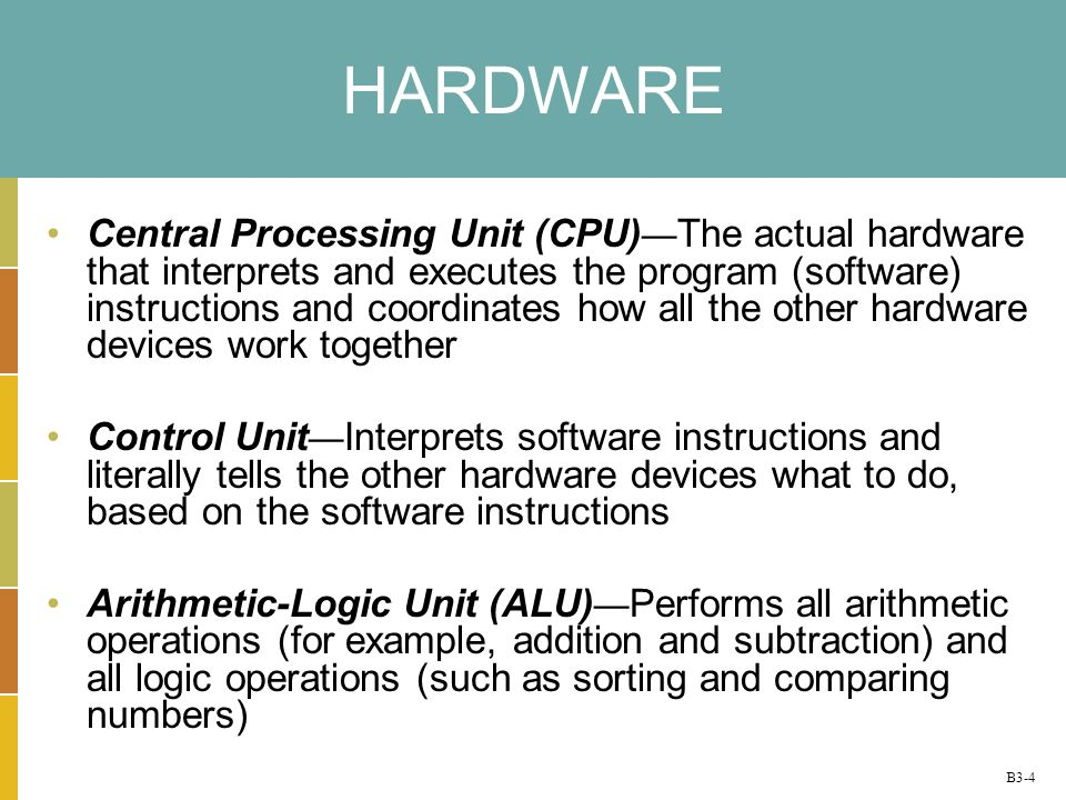 B3-4 HARDWARE Central Processing Unit (CPU) The actual hardware that interprets and executes the program (software) instructions and coordinates how a