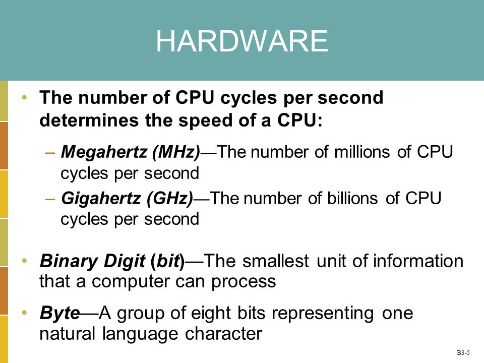 B3-5 HARDWARE The number of CPU cycles per second determines the speed of a CPU: –Megahertz (MHz) The number of millions of CPU cycles per second –Gigahertz (GHz) The number of billions of CPU cycles per second Binary Digit (bit)The smallest unit of information that a computer can process ByteA group of eight bits representing one natural language character