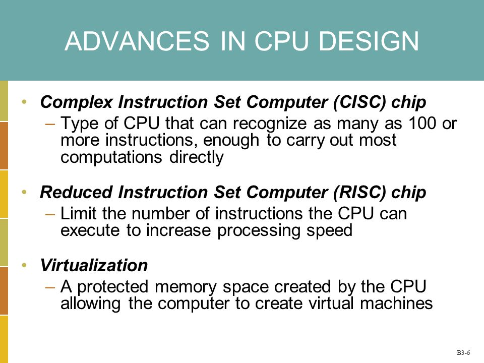 B3-6 ADVANCES IN CPU DESIGN Complex Instruction Set Computer (CISC) chip –Type of CPU that can recognize as many as 100 or more instructions, enough t