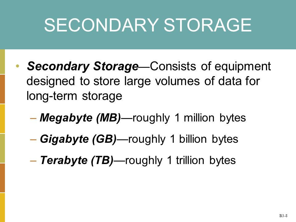 B3-8 SECONDARY STORAGE Secondary Storage Consists of equipment designed to store large volumes of data for long-term storage –Megabyte (MB)roughly 1 million bytes –Gigabyte (GB)roughly 1 billion bytes –Terabyte (TB)roughly 1 trillion bytes