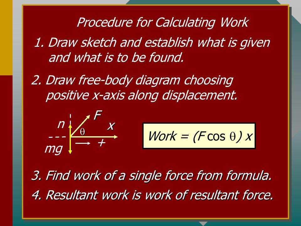 Work of a Force at an Angle x = 12 m F = 70 N 60 o Work = F x x Work = (F cos ) x Work = (70 N) Cos 60 0 (12 m) = 420 J Work = 420 J Only the x-compon