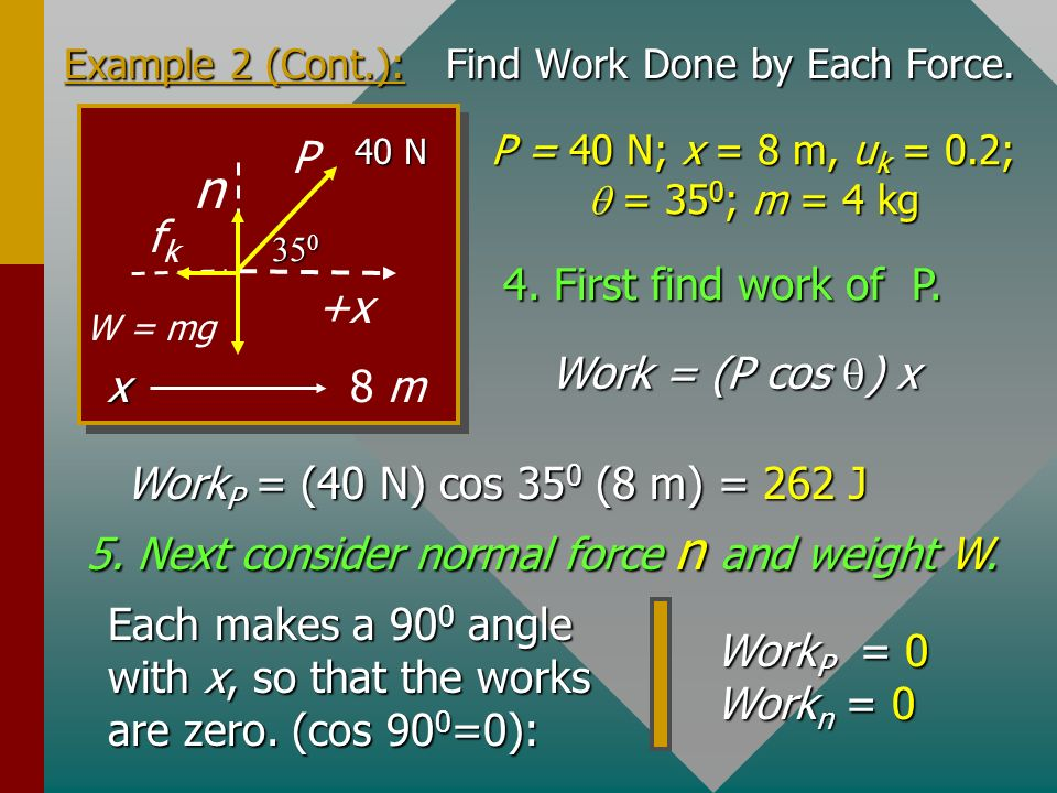 Example 2: A 40-N force pulls a 4-kg block a horizontal distance of 8 m. The rope makes an angle of 35 0 with the floor and u k = 0.2. What is the wor