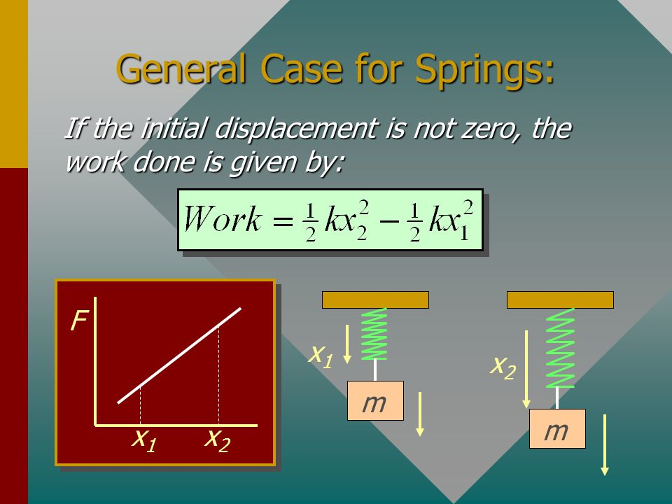 Example 5: What work is required to stretch this spring (k = 196 N/m) from x = 0 to x = 30 cm? Work = ½(196 N/m)(0.30 m) 2 Work = 8.82 J F 30 cm Note: