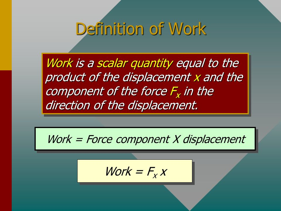 If a force does not affect displacement, it does no work. F W The force F exerted on the pot by the man does work. The earth exerts a force W on pot,