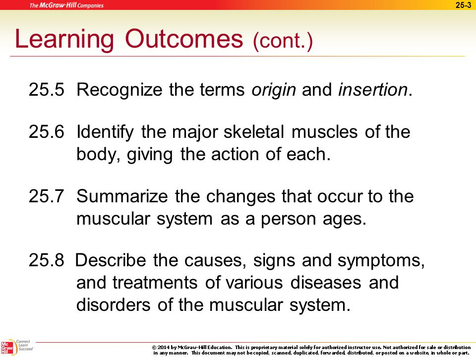 25-2 Learning Outcomes (cont.) 25.1 Describe the functions of muscle.