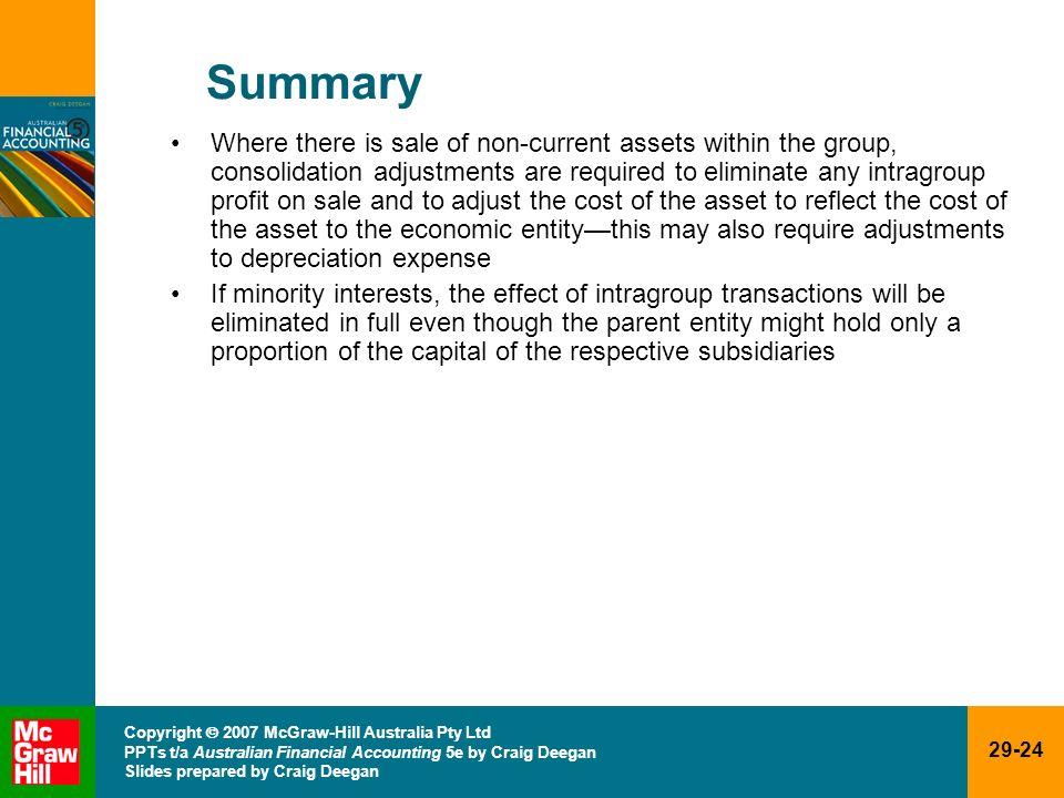 29-24 Copyright 2007 McGraw-Hill Australia Pty Ltd PPTs t/a Australian Financial Accounting 5e by Craig Deegan Slides prepared by Craig Deegan Summary
