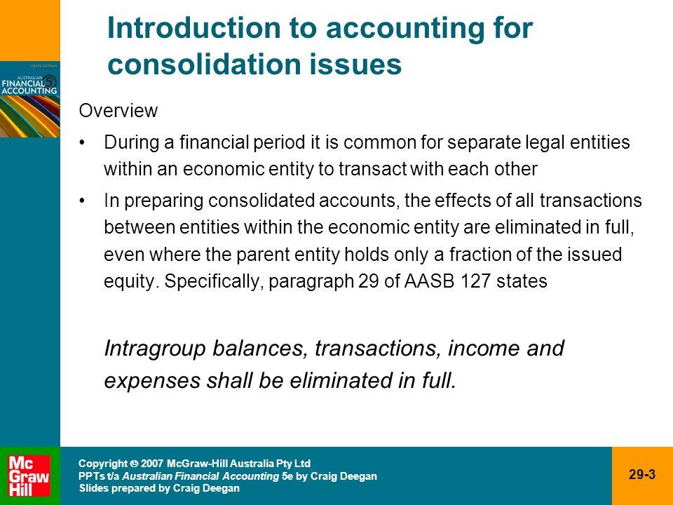 29-3 Copyright 2007 McGraw-Hill Australia Pty Ltd PPTs t/a Australian Financial Accounting 5e by Craig Deegan Slides prepared by Craig Deegan Introduc