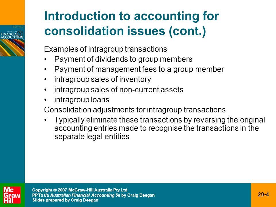 29-4 Copyright 2007 McGraw-Hill Australia Pty Ltd PPTs t/a Australian Financial Accounting 5e by Craig Deegan Slides prepared by Craig Deegan Introduc