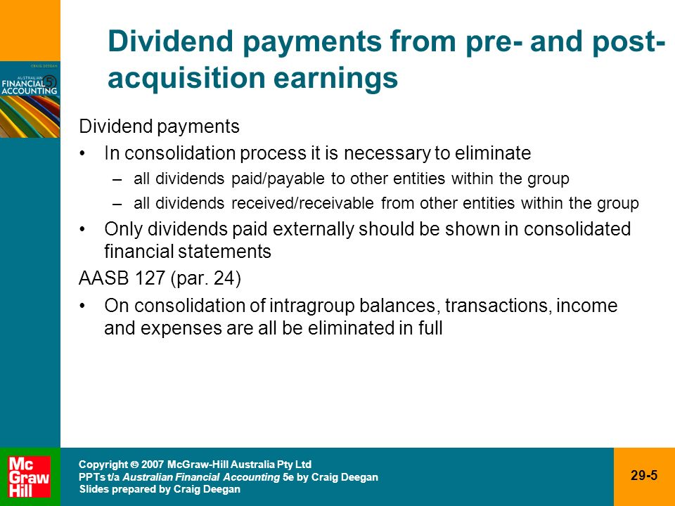 29-5 Copyright 2007 McGraw-Hill Australia Pty Ltd PPTs t/a Australian Financial Accounting 5e by Craig Deegan Slides prepared by Craig Deegan Dividend