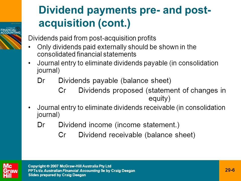 29-6 Copyright 2007 McGraw-Hill Australia Pty Ltd PPTs t/a Australian Financial Accounting 5e by Craig Deegan Slides prepared by Craig Deegan Dividend