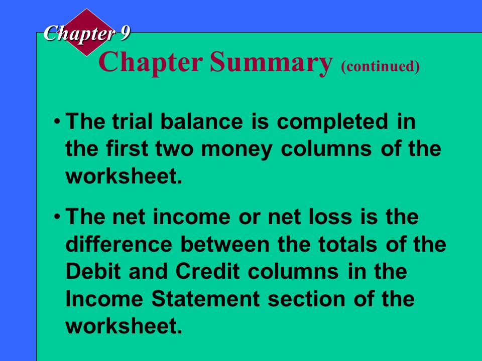 Chapter Summary A special form known as a worksheet is often used to compute the net income or net loss and to plan the financial statements before th