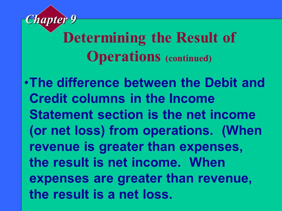 Determining the Result of Operations The total of the Debit column in the Income Statement section shows the total expenses for the period. The total